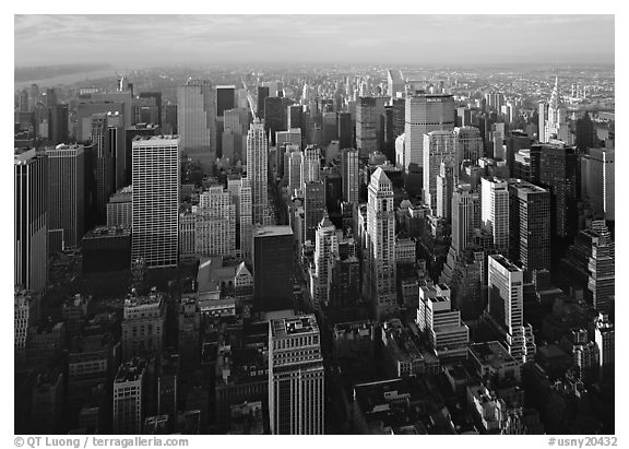 Mid-town Manhattan skyscrapers from above, late afternoon. NYC, New York, USA (black and white)
