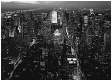 Looking North from the Empire State Building, dusk. NYC, New York, USA (black and white)