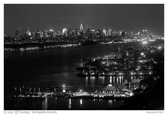 Hudson River and New York skyline at night. NYC, New York, USA (black and white)