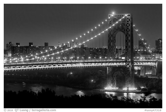 Washington Bridge at night. NYC, New York, USA (black and white)