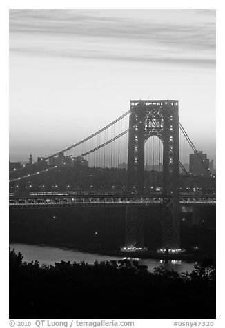 Washington Bridge at dawn from New Jersey. NYC, New York, USA (black and white)