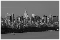 New York City skyline at sunrise. NYC, New York, USA (black and white)