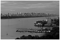 Hudson River, Fort Lee, and Manhattan. NYC, New York, USA ( black and white)