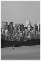 Manhattan skyline with Empire State Building and Hudson. NYC, New York, USA (black and white)