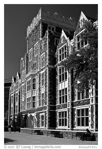 CUNY campus. NYC, New York, USA (black and white)