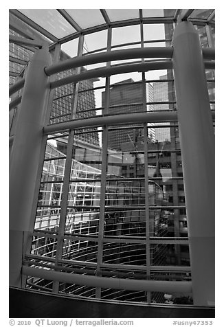 Looking through glass windows from One Beacon Court. NYC, New York, USA (black and white)