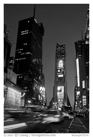 One Times Square at dusk. NYC, New York, USA (black and white)