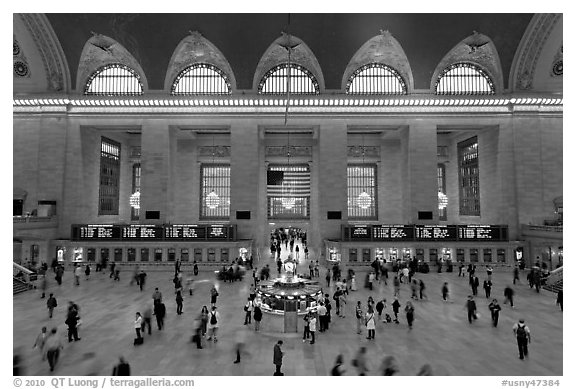 Grand Central Station interior. NYC, New York, USA (black and white)