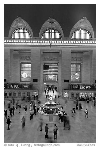Main information booth and flag hung after 9/11, Grand Central Terminal. NYC, New York, USA (black and white)