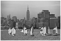 Sailboats and Manhattan skyline, New York Harbor. NYC, New York, USA (black and white)