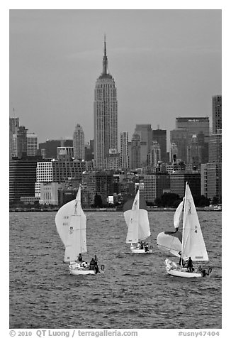 Sailboats and Empire State Building. NYC, New York, USA (black and white)