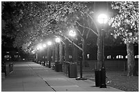 Row of lights by night, Ellis Island. NYC, New York, USA ( black and white)