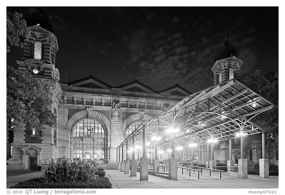 Main Building by night, Ellis Island. NYC, New York, USA (black and white)
