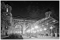 Main Building by night, Ellis Island. NYC, New York, USA ( black and white)