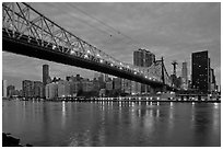 Queensboro bridge and Manhattan at dawn. NYC, New York, USA ( black and white)
