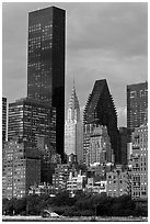 Trump World Tower and Chrysler Building. NYC, New York, USA (black and white)