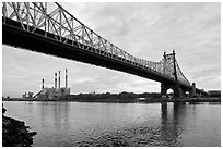 Queensboro bridge and power station. NYC, New York, USA (black and white)