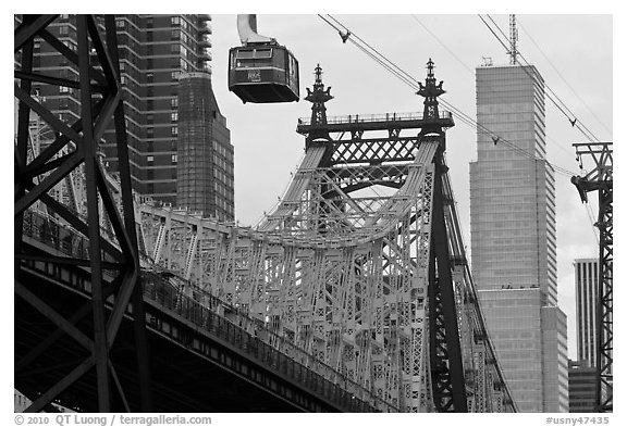 Aerial tramway car and Queensboro bridge. NYC, New York, USA (black and white)