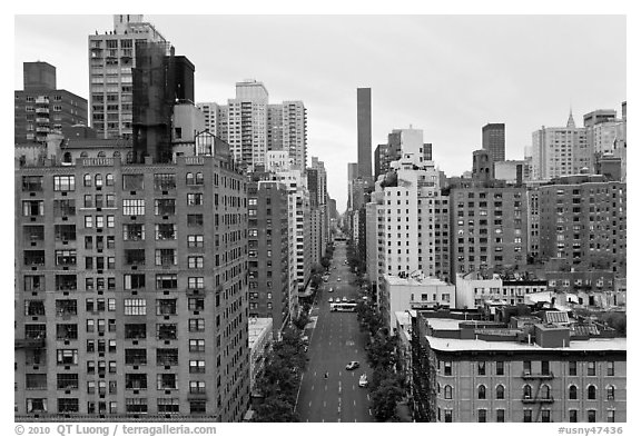 Street and buildings from above, Manhattan. NYC, New York, USA (black and white)