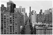 Street and buildings from above, Manhattan. NYC, New York, USA ( black and white)