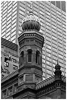Central synagogue dome. NYC, New York, USA ( black and white)