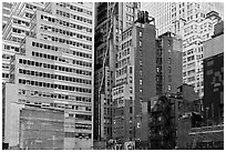 Vintage high-rise buildings, Manhattan. NYC, New York, USA ( black and white)