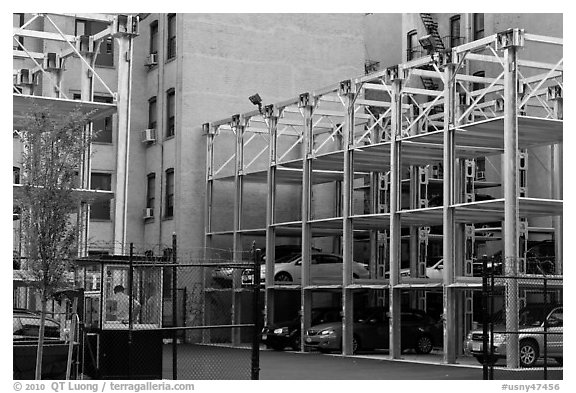 Parking elevators. NYC, New York, USA (black and white)