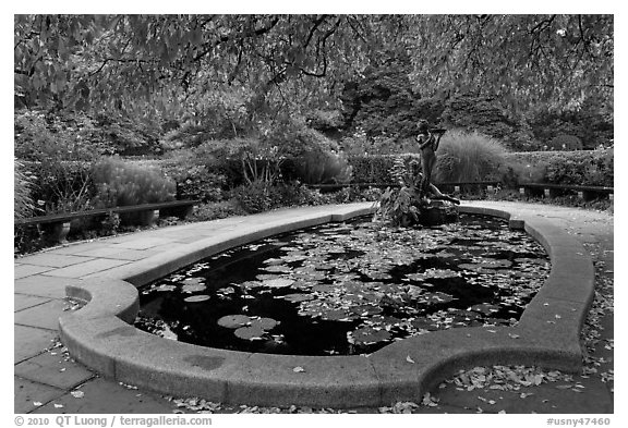 Pool and sculpture, South Garden, Central Park. NYC, New York, USA (black and white)