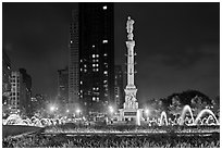 Columbus Circle at night. NYC, New York, USA (black and white)