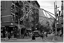 Little Italy street. NYC, New York, USA ( black and white)