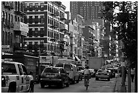 Bowery street. NYC, New York, USA ( black and white)
