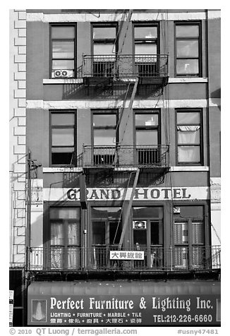 Facade detail, Bowery Hotel. NYC, New York, USA (black and white)