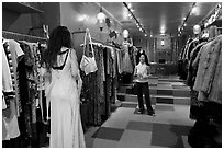 Inside boutique clothing store, SoHo. NYC, New York, USA ( black and white)