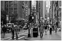 Pedestrian plazas on street near Times Squares. NYC, New York, USA (black and white)