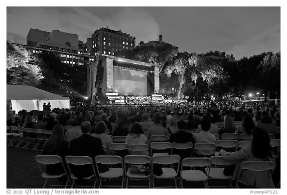 Central Park outdoor event celebrating Ken Burns National Parks series, QTL photo on screen. NYC, New York, USA (black and white)