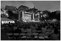 Central Park outdoor event celebrating Ken Burns National Parks series, QTL photo on screen. NYC, New York, USA ( black and white)