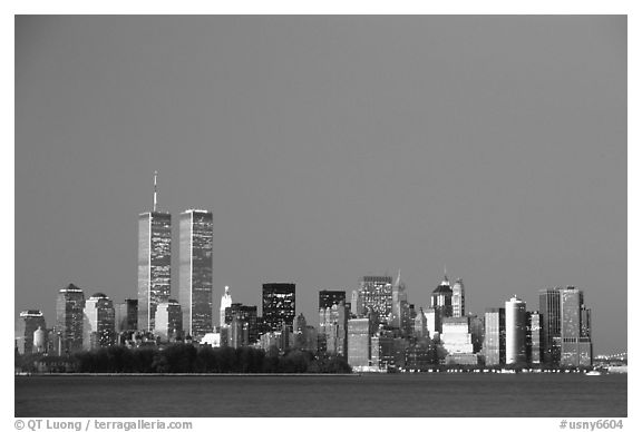 South Manhattan and WTC at dusk. NYC, New York, USA (black and white)