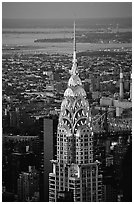 Chrysler building, seen from the Empire State building at dusk. NYC, New York, USA (black and white)