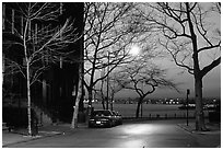 Street in Brooklyn at sunset. NYC, New York, USA ( black and white)