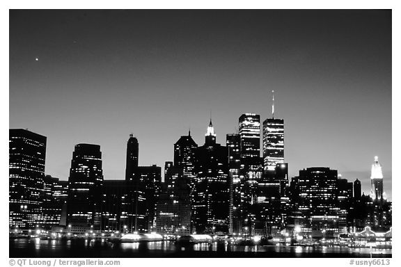 South Manhattan and WTC from Brooklyn, dusk. NYC, New York, USA (black and white)