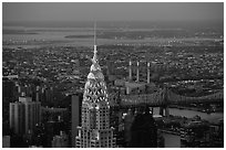 Chrysler building, seen from the Empire State building, nightfall. NYC, New York, USA (black and white)