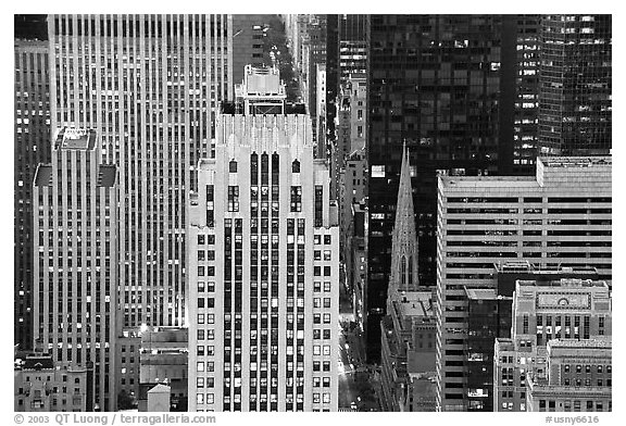 Fifth Avenue and Saint Patrick Cathedra, dusk. NYC, New York, USA (black and white)