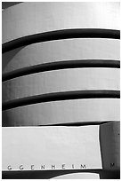 Facade detail, Solomon R Guggenheim Museum. NYC, New York, USA (black and white)