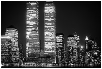 World Trade Center Twin Towers at night. NYC, New York, USA (black and white)