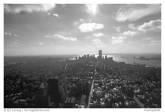 Midtown and Lower Manhattan seen from the Empire State Building, afternoon. NYC, New York, USA (black and white)