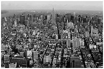 Midtown and Upper Manhattan, seen from the World Trade Center. NYC, New York, USA (black and white)