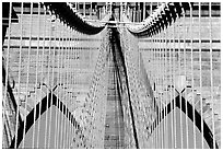 Brooklyn Bridge detail. NYC, New York, USA (black and white)