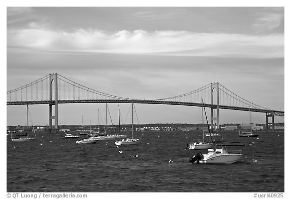 Claiborne Pell Newport Bridge over the East Passage of the Narragansett Bay. Newport, Rhode Island, USA (black and white)