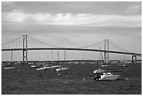 Claiborne Pell Newport Bridge over the East Passage of the Narragansett Bay. Newport, Rhode Island, USA ( black and white)