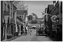 Area of shops near harbor. Newport, Rhode Island, USA ( black and white)